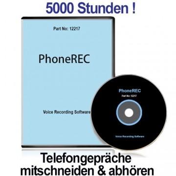 Telefone abhören und aufnehmen mit PHONE-REC für unbegrenzte Aufzeichnung der Telefonate auf PC im WAV-Format. Blitzschnell installiert und kinderleicht zu bedienen. Abhörgerät für Telefon-Mitschnitt bis 5000 Std.