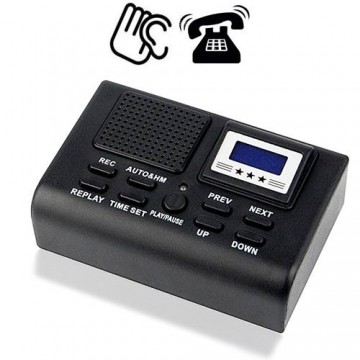 Telefonrecorder zum Mitschneiden der Gespräche als Telefon Abhörgerät. Automatische Gesprächsaufzeichnung bei Rufannahme. 8GB Speicherinhalt für Aufnahmen bis zu 280 Stunden.