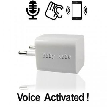 """Mini GSM-Abhörgerät, """"Cube"""" 220-Volt gespeist über Steckdose für unbegrenzten Dauerbetrieb. Weltweit einsetzbar für akustische Dauerüberwachung."""