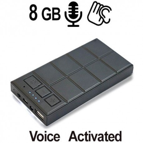 Langzeit Spionagerecorder, Timer & Voice-Activated, 5000 mAh Akku für bis zu 580 Stunden Betriebszeit. 8GB für 350 Stunden kontinuierliche Sprachaufnahme.