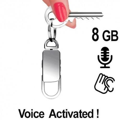 Spionagerecorder (Abhörgerät) getarnt im Schlüsselanhänger, Voice-Activated, lange Aufnahmezeiten bis zu 80 Std. Zeichnet diskret Gespräche im Umfeld auf. Äusserlich kein Unterschied zu einem normalen Schlüsselanhänger.