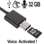 Verdeckter Spionagerecorder im USB-Kabel. Erstklassige Aufnahme- und Wiedergabequalität. Lange Aufnahmezeiten: bis zu 384 Std. mit 32 GB Speicher. Keine Batterie notwendig durch USB-Stromversorgung.