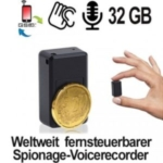 Der Micro Spionage-Voicerecorder der sich bei Bedarf über das globale Handynetz aktivieren lässt. Für Audio-Aufnahmen, über das globale GSM-Netz. Spionagerecorder via SMS-Befehl Ein- und Aus schaltbar.