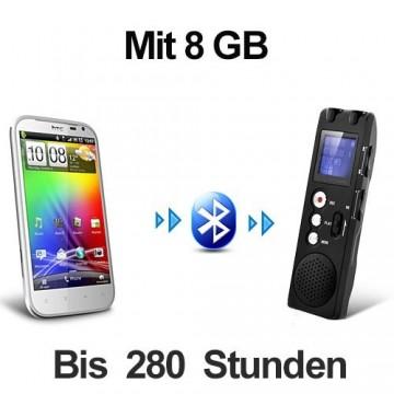 Drahtlos aus Distanz Handygespräche unauffällig mitschneiden. Abhörgerät für autom. Gesprächsmitschnitt bei Bluetooth fähigen Handys. Speicherinhalt 8 GB. Bis zu 280 Std. Aufnahmekapazität.