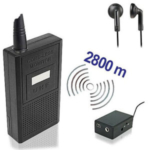Abhören mit professioneller Technik zur Audioüberwachung. Funk-Abhörgeräte im Set, komplett, mit passendem Funk-Empfänger. Für Reichweiten bis zu 2800 mtr.